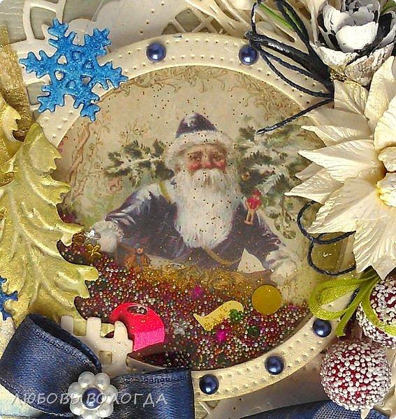 """Открытка для первого этапа СП """"СЕМЬ ЧУДЕСНЫХ ОТКРЫТОК""""  """"Круглая открытка с шейкером"""":   ТЕМА - Новый год, Рождество, зима ФОРМА - фигурная открытка в форме круга ОЭ (обязательный элемент) - шейкер  фото 5"""
