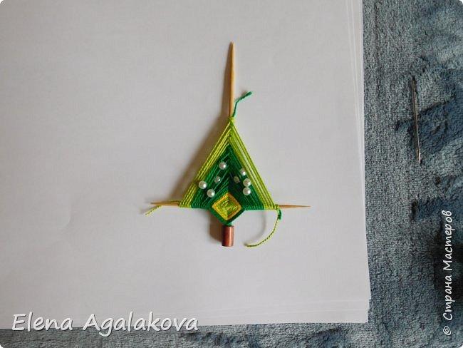 Добрый день! Сегодня я покажу как делать простую мандалу-елочку для украшения на Новый год.  У меня елочка 12 см на 9 см, но вы можете сплести ее любого размера, для малышей конечно лучше размер побольше. фото 19