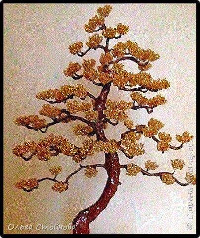 Золотой бонсай из бисера фото 3