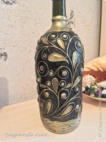Здравствуйте жители Страны!Вот такую бутылочку сделала на заказ....Неизменная благодарность Татьяне Сорокиной!!! фото 3