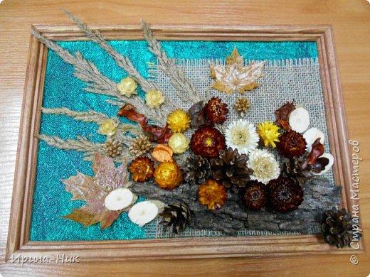 Осень навеяла ))) первое панно из сухих листьев, сухоцветов.  фото 1