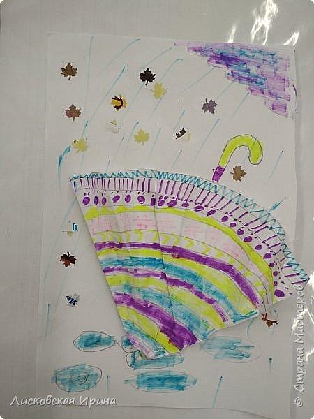 Осенняя погода рисует серыми красками дождя, яркими красками листьев. У нас получились осенние открытки Зонтики. Идею увидела в интернете ( в контакте) https://pp.userapi.com/c635104/v635104208/3b105/CxQLLtMhjeQ.jpg Мы внесли несколько своих дополнений. фото 14