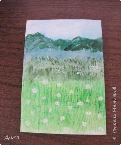 Всем привет!  Сегодня хочу вам показать вторую открытку, которую я сделала для одноклассницы. У неё день рождения 21 октября. Идею увидела интернете. Открытку сделала на А4, альбомный лист для акварельных красок.  фото 7