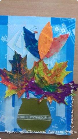 """Вот такие осенние натюрморты сегодня """" нарисовали"""" пластилином  ребята 3 """"А"""" класса. Из плотных  обложек , использованных  тетрадок ,  вырезали заготовки листьев , вазы  и  """"закрасили """" пластилином. Фон - обложки  с наборов  картона. Берегите  все живое !!!  фото 6"""