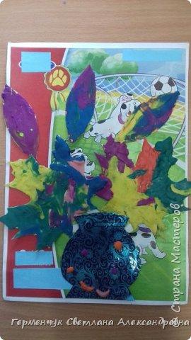 """Вот такие осенние натюрморты сегодня """" нарисовали"""" пластилином  ребята 3 """"А"""" класса. Из плотных  обложек , использованных  тетрадок ,  вырезали заготовки листьев , вазы  и  """"закрасили """" пластилином. Фон - обложки  с наборов  картона. Берегите  все живое !!!  фото 16"""