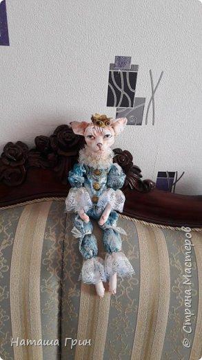 Всем привет! На этот раз хочу показать вам кота сфинкса. Котик сделан из папье-маше, лапки подвижные. Так что он может сидеть как захочет, даже в королевской позе:))) фото 5