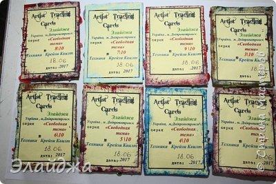 """Привет  дорогие друзья и гости моей странички!! !Вот моя 7 серия нашей совместной игры .организованной Оксаной(Oksana Gordey). (http://stranamasterov.ru/node/1099648#comment-14782622) Тема 7 этапа , - это карточка""""Свободная тема""""  По условиям игры , здесь каждый делает серию на любую тему и в любой технике.  Я решила сделать АТСки в стиле """" Крейзи-квилт"""". Ну во всяком случае пыталась. Использовала ткани, нитки мулине и всякие бусы, пуговки и бисеринки. Надеюсь вам понравится фото 2"""