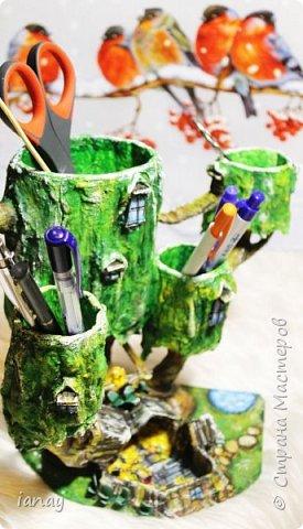 """Большая,вместительная карандашница по мотивам мультфильма """"Время приключений"""".Выполнена из папье-маше. Три фигурки из полимерной глины. фото 4"""