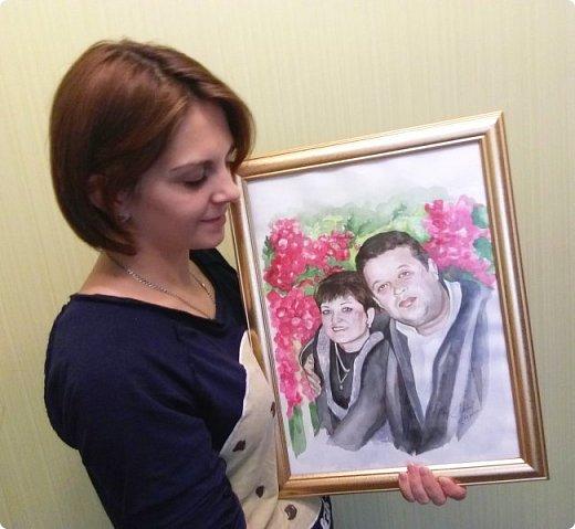 Семейный портрет. Акварель. Формат А3. фото 3
