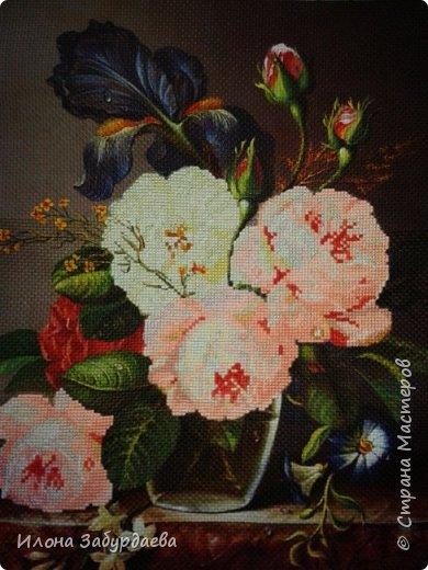 Частичная вышивка крестом , вышиты только розы.  фото 6