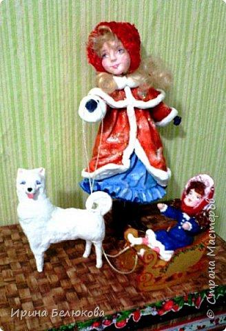 Здравствуйте уважаемые гости моей странички. Заходите. Посмотрите на мою новую работу. Скоро зима и новогодние праздники. Поэтому моя очередная девочка уже на зимней прогулке вместе с любимой куклой  и верным четвероногим другом. По моему все довольны. Я тоже!   Собаку из ваты делала впервые. Белая лайка с голубыми глазами получилась вполне дружелюбная, вон, как улыбается!  Кстати наступающий 2018 - год собаки.Прошу прощения за качество фотографий. фото 3