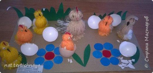 Эту работу мы выполняли в прошлом году с детками 6 класса к светлому празднику- Пасхе. Курочка и цыплята изготовлены из пряжи. фото 1