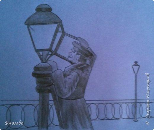 Этом мой первый МК, так что об ошибках говорите, не стесняйтесь. В общем решила я нарисовать фонарщика. Нашла рисунок, но он был такой нечёткий, что мне пришлось разбираться не только с плоскостями, но и с линейным рисунком. Немного истории.  Проект первого уличного масляного фонаря был разработан Жан-Батистом Леблоном. Каждый вечер на городские улицы выходили десятки и сотни фонарщиков. На плече каждый из них нёс небольшую лестницу, а в руках - бидон с топливом. По лестнице фонарщик забирался на фонарный столб, открывал стеклянную дверцу фонаря, заливал в него конопляное масло и зажигал фитиль. Масляные фонари светили недолго, так что горожане подозревали фонарщиков в том, что они экономят масло себе на кашу. Я вас не очень утомила? Ну вот собственно, такой рисунок получился. Теперь этапы. фото 3