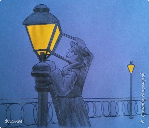 Этом мой первый МК, так что об ошибках говорите, не стесняйтесь. В общем решила я нарисовать фонарщика. Нашла рисунок, но он был такой нечёткий, что мне пришлось разбираться не только с плоскостями, но и с линейным рисунком. Немного истории.  Проект первого уличного масляного фонаря был разработан Жан-Батистом Леблоном. Каждый вечер на городские улицы выходили десятки и сотни фонарщиков. На плече каждый из них нёс небольшую лестницу, а в руках - бидон с топливом. По лестнице фонарщик забирался на фонарный столб, открывал стеклянную дверцу фонаря, заливал в него конопляное масло и зажигал фитиль. Масляные фонари светили недолго, так что горожане подозревали фонарщиков в том, что они экономят масло себе на кашу. Я вас не очень утомила? Ну вот собственно, такой рисунок получился. Теперь этапы. фото 4