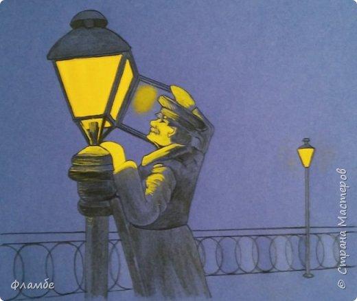 Этом мой первый МК, так что об ошибках говорите, не стесняйтесь. В общем решила я нарисовать фонарщика. Нашла рисунок, но он был такой нечёткий, что мне пришлось разбираться не только с плоскостями, но и с линейным рисунком. Немного истории.  Проект первого уличного масляного фонаря был разработан Жан-Батистом Леблоном. Каждый вечер на городские улицы выходили десятки и сотни фонарщиков. На плече каждый из них нёс небольшую лестницу, а в руках - бидон с топливом. По лестнице фонарщик забирался на фонарный столб, открывал стеклянную дверцу фонаря, заливал в него конопляное масло и зажигал фитиль. Масляные фонари светили недолго, так что горожане подозревали фонарщиков в том, что они экономят масло себе на кашу. Я вас не очень утомила? Ну вот собственно, такой рисунок получился. Теперь этапы. фото 5