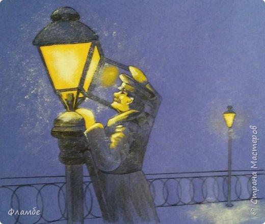 Этом мой первый МК, так что об ошибках говорите, не стесняйтесь. В общем решила я нарисовать фонарщика. Нашла рисунок, но он был такой нечёткий, что мне пришлось разбираться не только с плоскостями, но и с линейным рисунком. Немного истории.  Проект первого уличного масляного фонаря был разработан Жан-Батистом Леблоном. Каждый вечер на городские улицы выходили десятки и сотни фонарщиков. На плече каждый из них нёс небольшую лестницу, а в руках - бидон с топливом. По лестнице фонарщик забирался на фонарный столб, открывал стеклянную дверцу фонаря, заливал в него конопляное масло и зажигал фитиль. Масляные фонари светили недолго, так что горожане подозревали фонарщиков в том, что они экономят масло себе на кашу. Я вас не очень утомила? Ну вот собственно, такой рисунок получился. Теперь этапы. фото 6