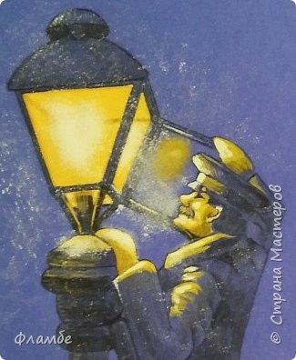 Этом мой первый МК, так что об ошибках говорите, не стесняйтесь. В общем решила я нарисовать фонарщика. Нашла рисунок, но он был такой нечёткий, что мне пришлось разбираться не только с плоскостями, но и с линейным рисунком. Немного истории.  Проект первого уличного масляного фонаря был разработан Жан-Батистом Леблоном. Каждый вечер на городские улицы выходили десятки и сотни фонарщиков. На плече каждый из них нёс небольшую лестницу, а в руках - бидон с топливом. По лестнице фонарщик забирался на фонарный столб, открывал стеклянную дверцу фонаря, заливал в него конопляное масло и зажигал фитиль. Масляные фонари светили недолго, так что горожане подозревали фонарщиков в том, что они экономят масло себе на кашу. Я вас не очень утомила? Ну вот собственно, такой рисунок получился. Теперь этапы. фото 8