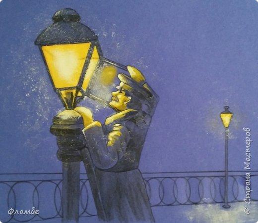 Этом мой первый МК, так что об ошибках говорите, не стесняйтесь. В общем решила я нарисовать фонарщика. Нашла рисунок, но он был такой нечёткий, что мне пришлось разбираться не только с плоскостями, но и с линейным рисунком. Немного истории.  Проект первого уличного масляного фонаря был разработан Жан-Батистом Леблоном. Каждый вечер на городские улицы выходили десятки и сотни фонарщиков. На плече каждый из них нёс небольшую лестницу, а в руках - бидон с топливом. По лестнице фонарщик забирался на фонарный столб, открывал стеклянную дверцу фонаря, заливал в него конопляное масло и зажигал фитиль. Масляные фонари светили недолго, так что горожане подозревали фонарщиков в том, что они экономят масло себе на кашу. Я вас не очень утомила? Ну вот собственно, такой рисунок получился. Теперь этапы. фото 7