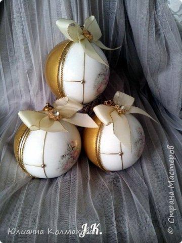 "Набор новогодних шаров "" Винтажная роза"" фото 1"