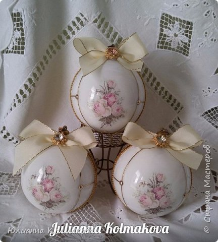 "Набор новогодних шаров "" Винтажная роза"" фото 2"