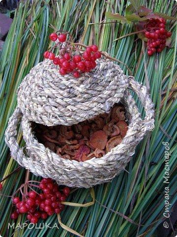 полюбила вить веревки из травы и сшивать из них посудинки разные фото 3