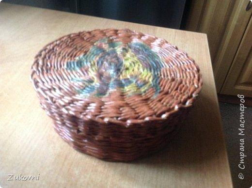 Короб 1 ( шкатулка под нитки)  газетное плетение фото 1
