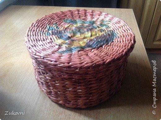 Короб 1 ( шкатулка под нитки)  газетное плетение фото 3