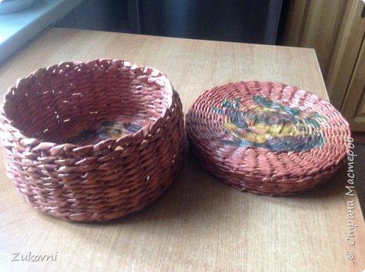 Короб 1 ( шкатулка под нитки)  газетное плетение фото 4