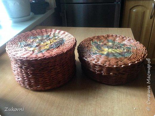 Короб 1 ( шкатулка под нитки)  газетное плетение фото 5