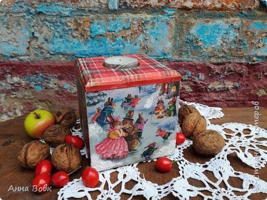"""короб-подсвечник """"Christmas holidays"""" фото 2"""