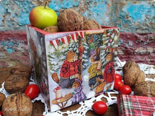 """короб-подсвечник """"Christmas holidays"""" фото 4"""