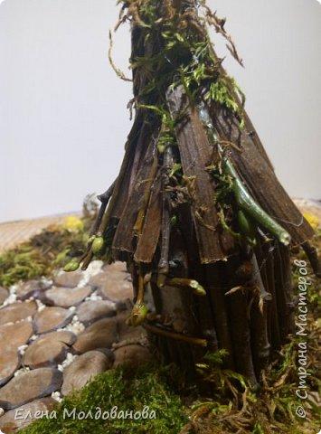 Павлины сделаны из шишек, камыша, высушенных цветов, мха и сухоцветов фото 22