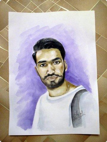 Мужской портрет. Акварель. Формат А3.  фото 2