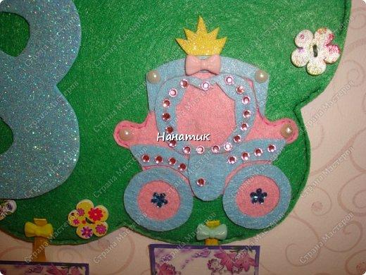 Доброе утро! Сшила из фетра календарь ожидания Дня Рождения! Дочурка попросила сделать. Увидела в интете такое панно, и тут же решила, что именно такой календарь хочу сделать). фото 8