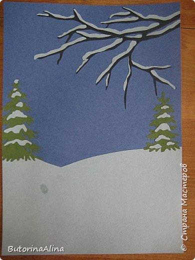 """Панно """"Встреча Нового года"""" Для создания фона использованы цветные карандаши. Коллективная работа. фото 4"""