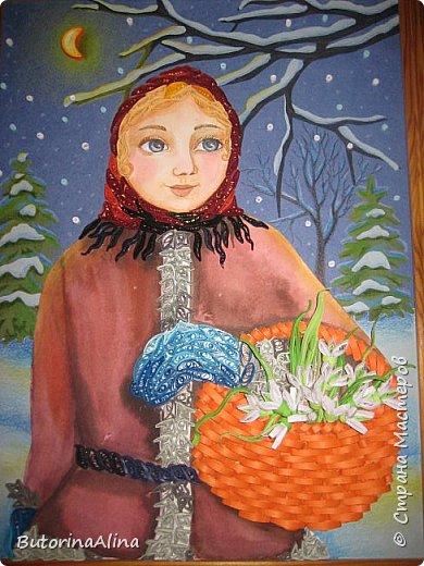"""Панно """"Встреча Нового года"""" Для создания фона использованы цветные карандаши. Коллективная работа. фото 3"""