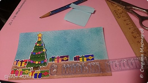 Всем здравствуйте! Ура... скоро Новый год! Уже начинаем готовиться... и на просторах интернета, я увидела очень интересную открытку, как я ее назвала - раздвигушка ;-) А тут, мне прислали аналогичный штамп... как раз по теме... и понеслось! фото 6