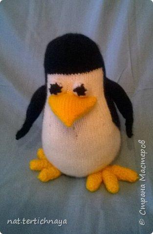 """Описание этого пингвина я нашла на сайте """"Все сама"""". Очень подробное описание работы. Только имени автора не знаю. Высота пингвина 20 сантиметров, связан спицами. Пряжа акриловая. фото 1"""