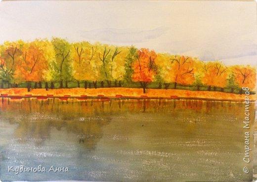 Вдохнивила меня осеннь нарисовать вот такие акварельные рисунки!!! Осень в этом году очень яркая, красочная, необыкновенная!!! Это рисунок осеннего дуба.   фото 2