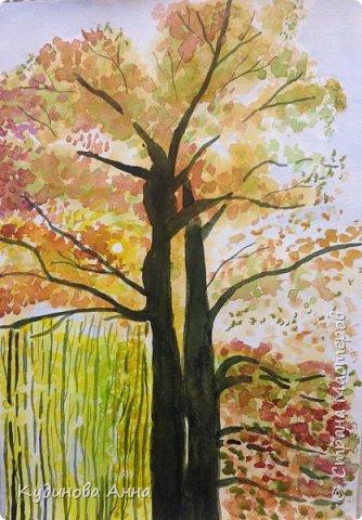 Вдохнивила меня осеннь нарисовать вот такие акварельные рисунки!!! Осень в этом году очень яркая, красочная, необыкновенная!!! Это рисунок осеннего дуба.   фото 1