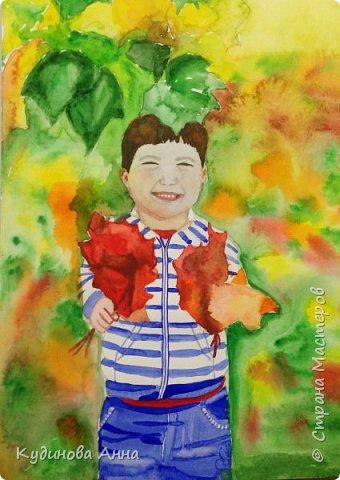 Вдохнивила меня осеннь нарисовать вот такие акварельные рисунки!!! Осень в этом году очень яркая, красочная, необыкновенная!!! Это рисунок осеннего дуба.   фото 3