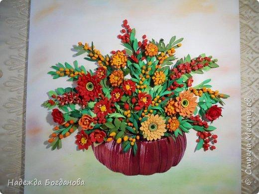 Здравствуйте дорогие мастерицы! Хочу показать вам одну из своих последних работ, в которой собрала букет из разных цветов и веточек. Букет получился яркий и насыщенный!   фото 10