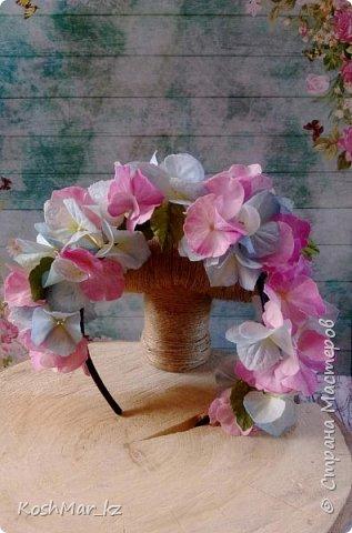 Ободок с цветами гортензии «Нежность» нежно розового и голубого цвета  фото 1