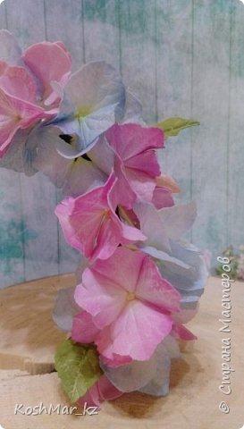 Ободок с цветами гортензии «Нежность» нежно розового и голубого цвета  фото 4