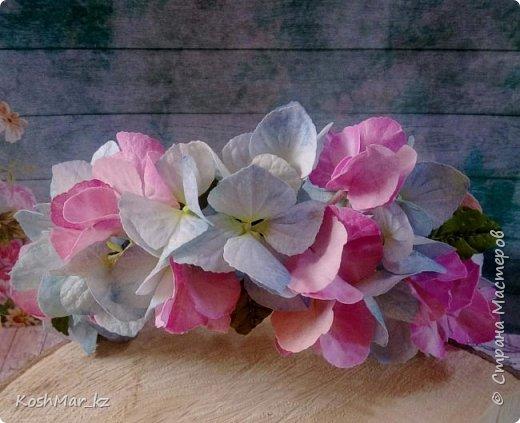 Ободок с цветами гортензии «Нежность» нежно розового и голубого цвета  фото 2
