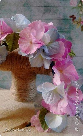 Ободок с цветами гортензии «Нежность» нежно розового и голубого цвета  фото 3