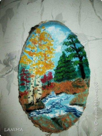 картинки на спилах дерева гуашью и крашеной крупой фото 2