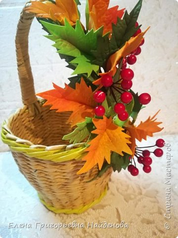 Заказ для дочери Татьяны в садик на день осени.Корзинка и заколочка для фотосесии. фото 5