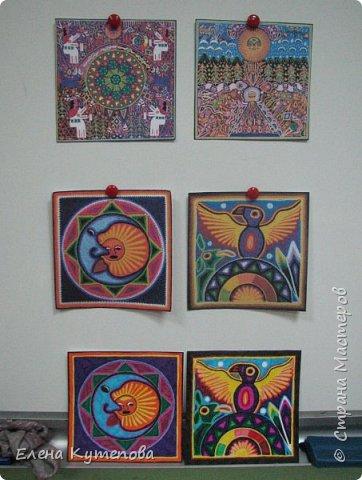 Я продолжаю знакомить детей с этно искусством разных континентов. После Южной Америки перебрались в Северную, в Мексику, и познакомились с искусством индейцев уичоли. фото 2