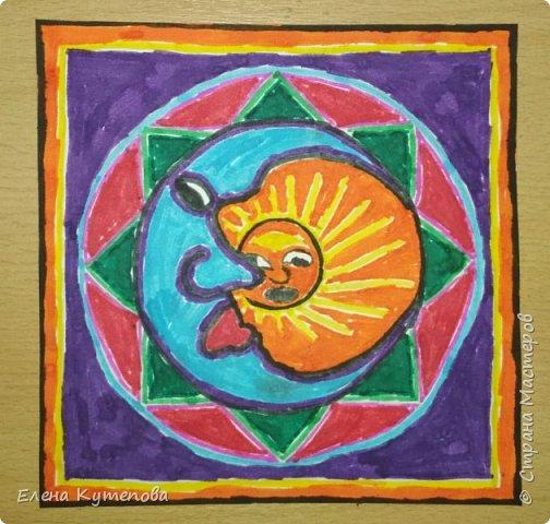 Я продолжаю знакомить детей с этно искусством разных континентов. После Южной Америки перебрались в Северную, в Мексику, и познакомились с искусством индейцев уичоли. фото 7